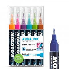 Clearbox 6 feutres Molotow Aqua-Ink Softliner | Kit 2
