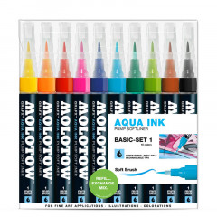 Clearbox 10 feutres Molotow Aqua-Ink Softliner | Kit 3