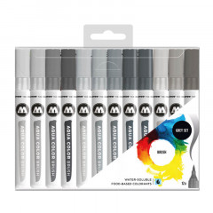 Clearbox 12 feutres Molotow Aqua Color Brush | Grey Set