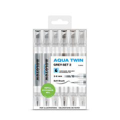 Clearbox 6 feutres Molotow Aqua-Twin | Kit Grey 2
